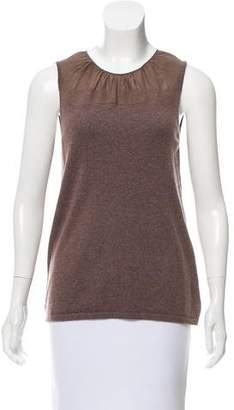 Brunello Cucinelli Silk-Paneled Cashmere Top