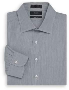 Saks Fifth Avenue BLACK Slim-Fit Thin Striped Cotton Dress Shirt