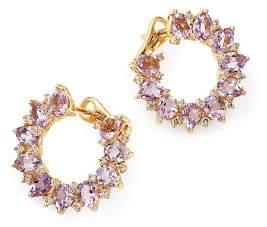 Kiki McDonough 18K Yellow Gold Juno Amethyst & Diamond Sunflower Earrings