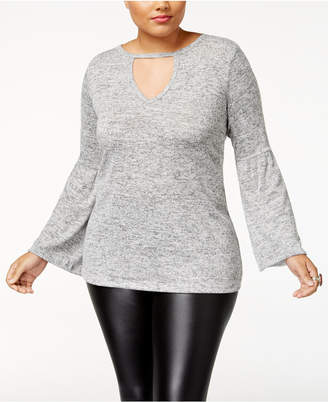 No Comment Trendy Plus Size Bell-Sleeve Sweater