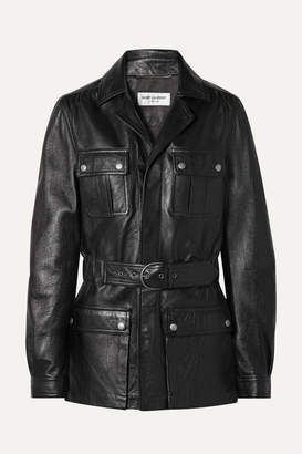 Saint Laurent Belted Leather Jacket - Black