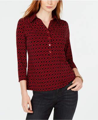 Charter Club Printed 3/4-Sleeve Shirt, Created for Macy's