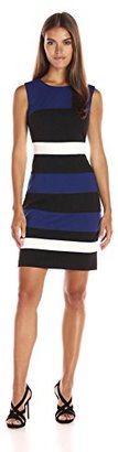 Tommy Hilfiger Women's Sleeveless Color Block Ponte Sheath $124 thestylecure.com