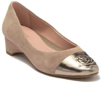 Taryn Rose Babe Suede Metallic Toe Rosette Raised Flat - Wide Width Available