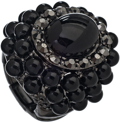 Blu Bijoux Black Bubbles Cocktail Ring