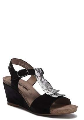 Mephisto Jenny Snake-Embossed Wedge Ankle Strap Sandal