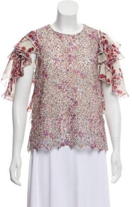Giamba Ruffle-Accented Broderie Anglaise Blouse Mauve Ruffle-Accented Broderie Anglaise Blouse
