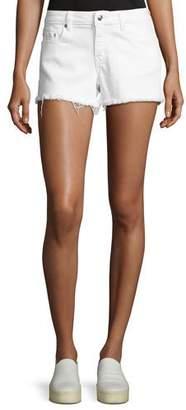 Derek Lam 10 Crosby Quinn Mid-Rise Slim Girlfriend Jean Cutoff Shorts, White