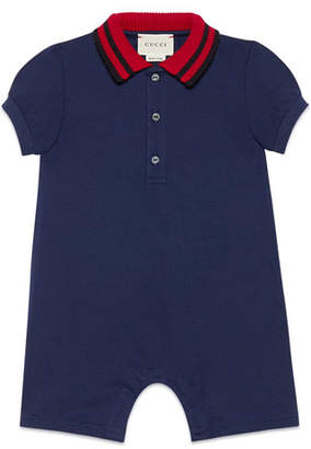 Gucci Knit Web Collar Stretch Piquet Shortall, Size 3-18 Months