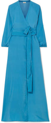 Jagger Rhode Resort Silk Crepe De Chine Wrap Dress - Light blue