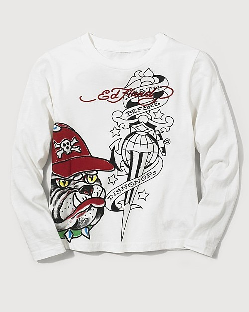 Ed Hardy Boys' Long Sleeve Bulldog Skull Tee Shirt