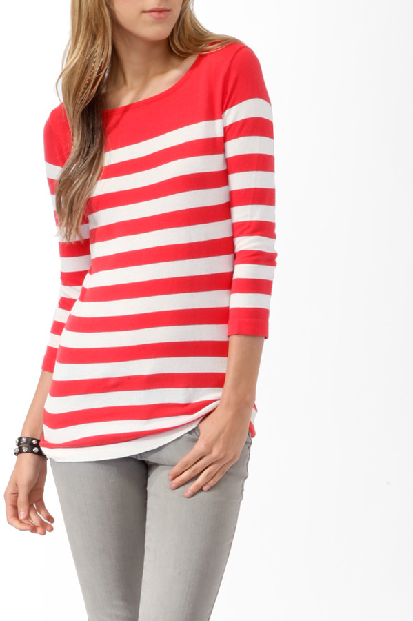 FOREVER 21 Colorblock Striped Sweater