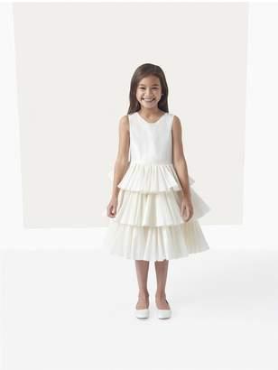 Oscar de la Renta Kids Taffeta Tiered Flower Girl Dress