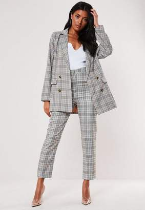Missguided Brown Plaid Co Ord Super Oversized Blazer