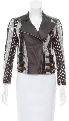 Yigal Azrouel Eyelet & Leather Moto Jacket w/ Tags