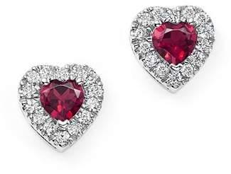 Bloomingdale's Rhodolite Garnet and Diamond Heart Earrings in 14K White Gold - 100% Exclusive