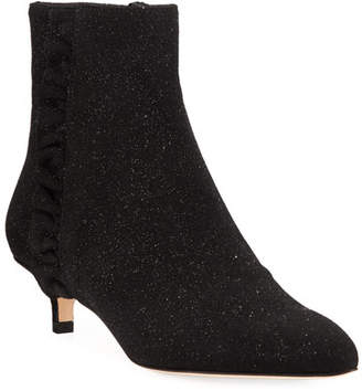 Sesto Meucci Bayley Ruffle Glittered Booties, Black Metallic