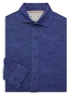 Linen Print Dress Shirt