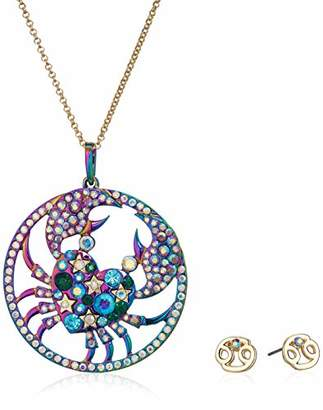 Betsey Johnson Women's Cancer Zodiac Necklace and Earrings Set