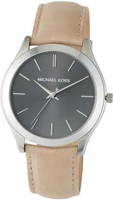 MICHAEL Michael Kors 44mm Slim Runway Watch w/ Leather, Gray/Brown