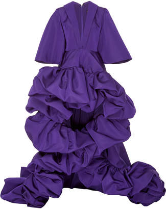 Christian Siriano Pulsar Purple Bell Sleeve High Low Sculpted Moon Gown