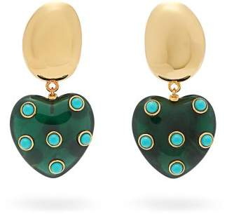 Lizzie Fortunato - Amore Resin Heart Turquoise Drop Earrings - Womens - Blue