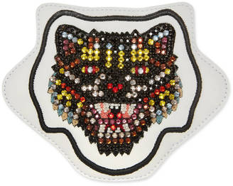 Embroidered Angry Cat leather appliqué $350 thestylecure.com