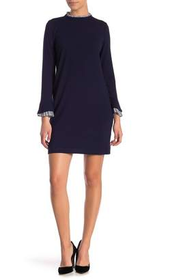 Sharagano Ruffle Trim Sweater Shift Dress (Petite)