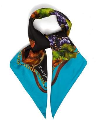 Dolce & Gabbana Vineyard Print Silk Twill Scarf - Womens - Blue