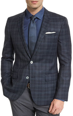 Boss Hugo Boss Hutson Plaid Wool Sport Coat, Navy $695 thestylecure.com