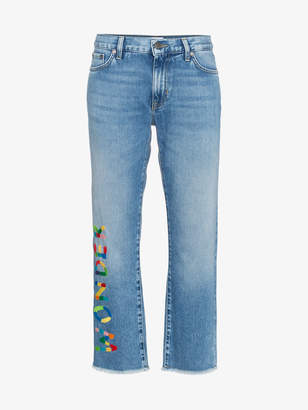 Mira Mikati Wonder embroidered cropped jeans