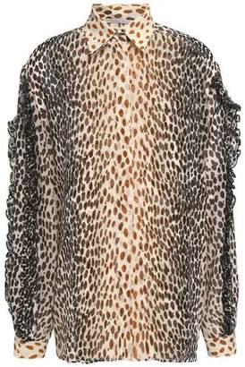 Marco De Vincenzo Ruffle-Trimmed Printed Silk Crepe De Chine Shirt