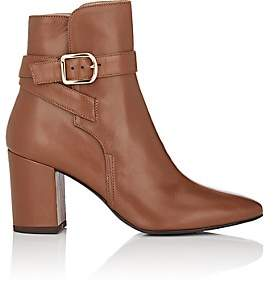 Barneys New York WOMEN'S BUCKLE-STRAP LEATHER ANKLE BOOTS-BROWN SIZE 9.5