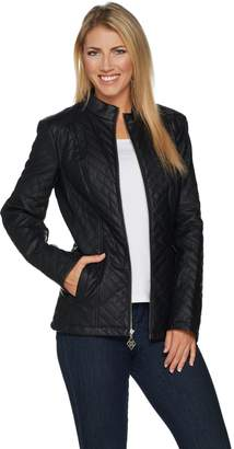 Dennis Basso Quilted Chevron Faux Leather Zip Front Jacket