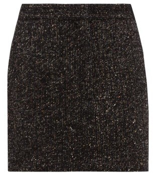 Tibi High Rise Wool Blend Tweed Mini Skirt - Womens - Dark Grey