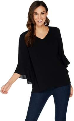 Belle By Kim Gravel Belle by Kim Gravel V-Neck Bell Sleeve Stretch Crepe Top
