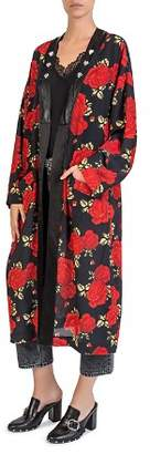 The Kooples Silk Sleeping Roses Printed Kimono
