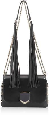 Jimmy Choo LOCKETT PETITE Black Spazzolato Shoulder Bag with Tassel Shoulder Strap