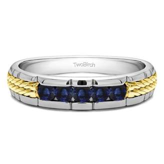 TwoBirch Sapphire Mounted in Sterling Silver Sapphire Channel Set Men's Wedding (0.3crt)