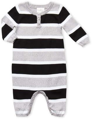 Cuddl Duds Newborn) Grey Striped Coveralls