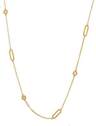 Roberto Coin New Barocco 18K Yellow Gold 0.19ct Diamond Braid Necklace