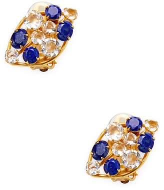 Bounkit Women's Round Faceted Lapis & Quartz Stud Earrings