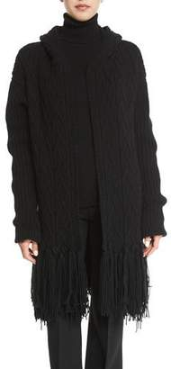 Agnona Fringed Cable-Knit Cashmere-Blend Coat