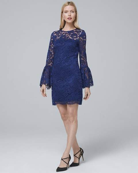 Whbm Bell-Sleeve Lace Shift Dress