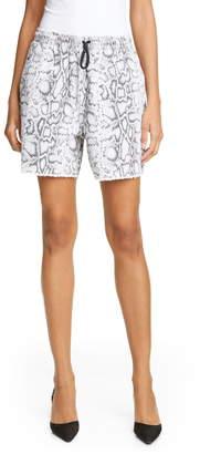 Alexander Wang Denim x Snake Print Denim Jogger Shorts