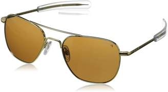 Randolph Aviator Square Sunglasses, 55, 23K Gold Plated, Bayonet, Tan Polarized Lenses