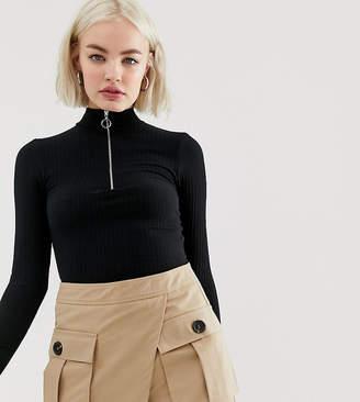 New Look body with half zip in black