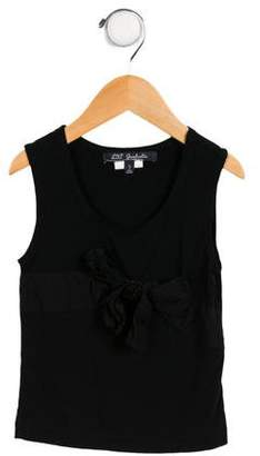Lili Gaufrette Girls' Embellished Bow-Accented Top