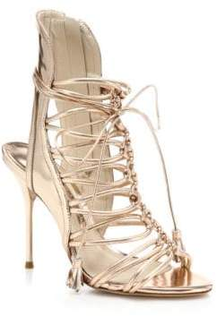 Sophia Webster Lacey Metallic Leather Lace-Up Sandals