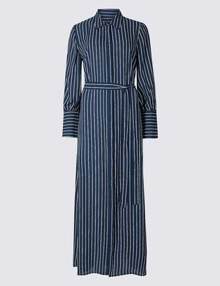 Marks and Spencer Striped Tie Waist Shirt Maxi Dress